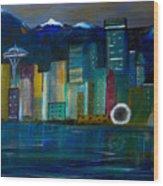 Seattle Skyiline Wood Print