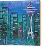 Seattle Skyline 2 Wood Print by Melisa Meyers