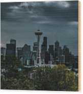 Seattle Skyline - Dramatic Wood Print