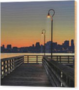 Seattle Skyline From The Alki Beach Seacrest Park Wood Print by David Gn Photography