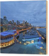 Seattle Skyline From The Waterfront At Blue Hour Wood Print