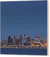 Seattle Skyline In Twilight With Clear Sky Wood Print