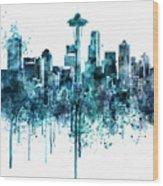 Seattle Skyline Monochrome Watercolor Wood Print