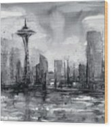 Seattle Skyline Painting Watercolor  Wood Print