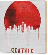 Seattle Skyline Red Wood Print
