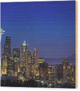Seattle Skyline Wood Print by Sebastian Schlueter (sibbiblue)