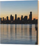 Seattle Skyline Silhouette At Sunrise From The Pier Wood Print