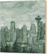 Seattle Skyline Watercolor Space Needle Wood Print