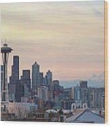 Seattle Skyline With Mount Rainier During Sunrise Panorama Wood Print