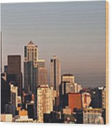 Seattle Sunset Panorama Wood Print