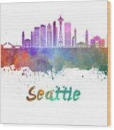 Seattle V2 Skyline In Watercolor Wood Print