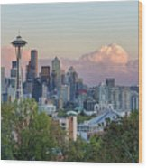 Seattle Washington City Skyline At Sunset Wood Print