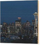 Seattle Washington Space Needle And City Skyline At Night Wood Print
