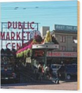 Seattle's Pike Place Market Center  Wood Print