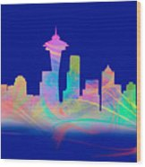 Seatttle Skyline Rainbow Watercolor Wood Print