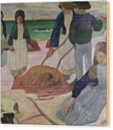 Seaweed Gatherers Wood Print