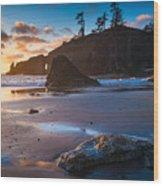 Second Beach Sunset Wood Print