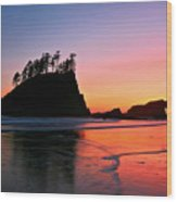 Second Beach Sunset Wood Print