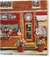 Second Cup Coffee Shop Wood Print
