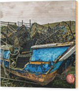 An Old Boat Turned In A Fyke Storage Place. Second Life.i Found This Near The Sea In Uig, Scotland. Wood Print