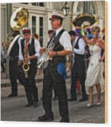 Second Line Wedding On Bourbon Street New Orleans Wood Print