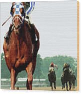 Secretariat Winning The Belmont Stakes, Jockey Ron Turcotte Looking Back, 1973 Wood Print