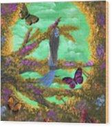 Secret Butterfly Garden Wood Print