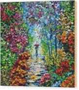 Secret Garden Oil Painting - B. Sasik Wood Print by Beata Sasik