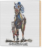 Secretariat At The Belmont Mural Wood Print