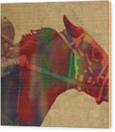 Secretariat Horse Race Watercolor Portrait Wood Print