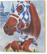 Secretariat Racehorse Portrait Wood Print