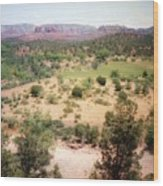 Sedona View Red Rock Mesa Wood Print