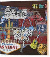 See The Usa Vintage Travel Map Recycled License Plate Art Of American Landmarks Wood Print