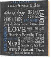 Seeger Lake House Rules Wood Print