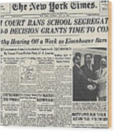 Segregation Headline, 1954 Wood Print by Granger