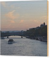 Seine At Sunset Wood Print