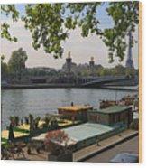 Seine Barges In Paris In Spring Wood Print