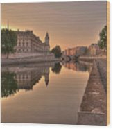 Seine River In Morning, Paris Wood Print