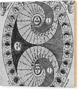 Selenic Shadowdial, Lunar Chart, 1646 Wood Print