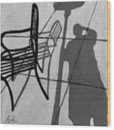 Self Portrait - Cafe Shadows Painting Wood Print