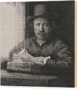 Self-portrait Drawing At A Window Wood Print