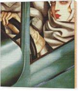 Self Portrait In A Green Bugatti Wood Print