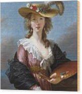 Self Portrait In A Straw Hat Wood Print