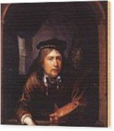 Self Portrait In A Window Wood Print