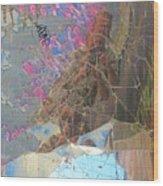 Self Portrait In Broken Glass Found In Graffiti Alley Wood Print