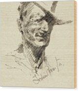 Self Portrait Of Frederic Remington Wood Print