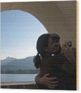 Self-portrait On Lake Wolfgang Wood Print
