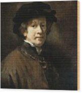 Self Portrait With Cap And Gold Chain Rembrandt Harmenszoon Van Rijn Wood Print