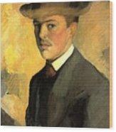 Self Portrait With Hat Wood Print