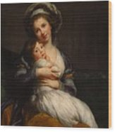 Self-portrait With Her Daughter Jeanne-lucie Wood Print